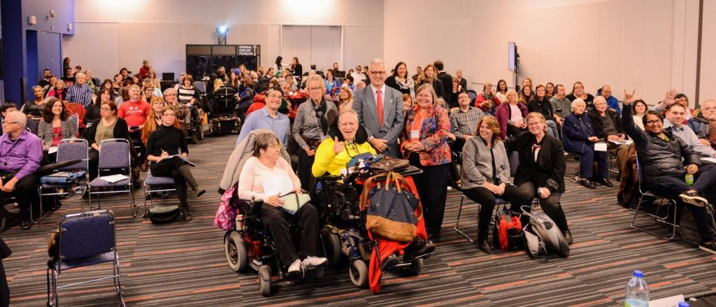 Nearly 150 people attended the consultation held in Montreal on November 16, 2016. Québec accessible was there! Photo Credit: Government of Canada